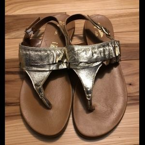 Anthropologie Seychelles Gold Leather Sandals Sz 8